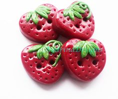 Strawberry  buttons -polymer clay handmade craft buttons set of 4 via Etsy