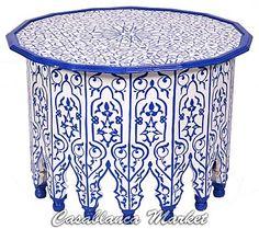 GlobeIn: Blue majorelle Hand-painted Bahira Table (FN062) #globein