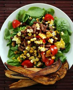 Corn and pinto bean salad with raw eggplant bacon