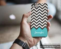 Trendy Teal Blue - Modern Chevron Zigzag Monogram Customizable and Personalized iPhone 6 Case