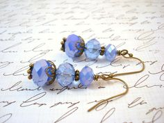 Light Blue Glass Beaded Earrings Vintage Style by snowingstars, $16.00
