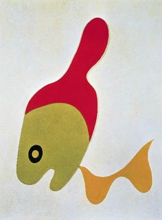 Jean Arp, Bottle and Mustache, painted relief on board