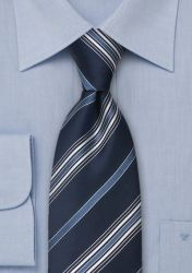 Krawatte XXL Streifen blau weiß günstig kaufen