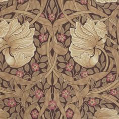 Pimpernel by William Morris. Pimpernel has a mirrored symmetry and wild, windblown flower heads as is typical of Morris' design. Classic floral wallpaper with windblown flower heads in dark beige and cerise with taupe leaves on a dark chocolate backgroun William Morris Tapet, William Morris Wallpaper, William Morris Patterns, Morris Wallpapers, Wallpaper Wallpapers, Floral Wallpapers, Art Nouveau, Art And Craft Design, Arts And Crafts Movement