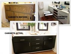 The outdated oak cabinets were primed and painted a semi-gloss black, while sleek chrome hardware was added to update the basic cabinetry