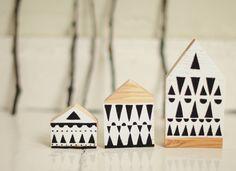 SET of 3  Hand painted wooden village miniature by ANAMARKO, $30.00