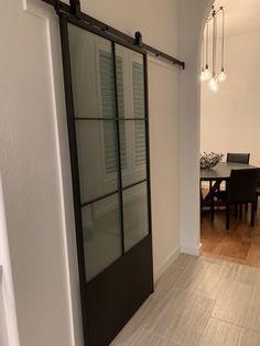 Beatiful black barn door for my pantry #homedepot Interior Doors, Interior Design, Black Barn, Pantries, Home Depot, Oversized Mirror, Divider, Room, Furniture