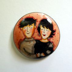 Couple Together  Hand painted wooden brooch or by JaneGiunchi