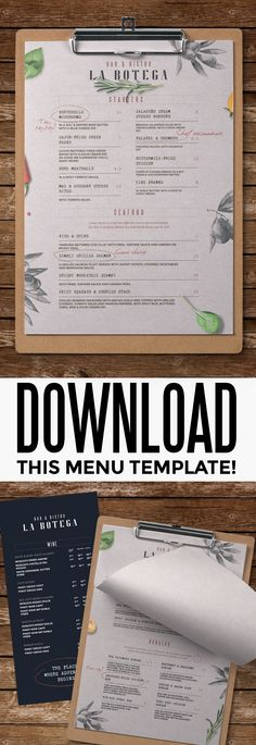 Rustic Menu #bar #beverage #black #blackboard #brink #business #cafe #cafemenu #chalkboard #classy #clean #cocktail #coffee #elegant #fastfood #flyer #food #italian #italy #menudesign #modern #pizza #printtemplate #restaurant #retro #template #vintage