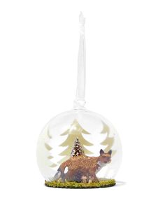 Forest Fox Glass Globe Chistmas Tree Ornament