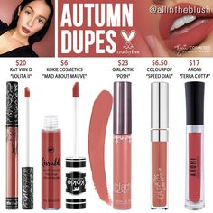 """3,103 Likes, 27 Comments - All in the Blush (@allintheblush) on Instagram: """"And the lipstick dupe for today is............... AUTUMN RE-DUPES What @kyliecosmetics shade…"""""""