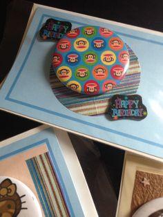 Homemade Happy Birthday pinback button card ~
