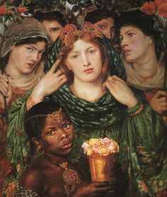 The Beloved is a painting by Pre-Raphelite artist Dante Gabriel Rossetti depicting a bride in the biblical Song of Solomon. Rossetti shows her transfixing the viewer with her direct gaze and the power of her beauty surrounded by figures and flowers. Dante Gabriel Rossetti, John Everett Millais, John William Waterhouse, Pre Raphaelite Paintings, Art Magique, Pre Raphaelite Brotherhood, Tate Britain, Tate Gallery, Portraits