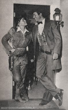 "Doris and Howard Keel behind the scenes on the set of ""Calamity Jane"""