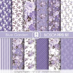 Blue Digital Paper, Rose Digital Paper Pack, Purple Floral Scrapbooking, Floral Digital Paper, Violet Roses - 1928