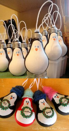 12.) Old light bulbs make adorable penguin ornaments.