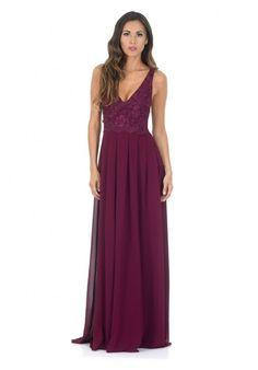 Plum V Front Lace Top Maxi Dress