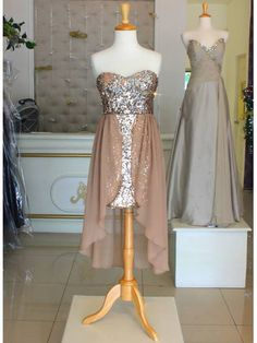 sequined high low dress