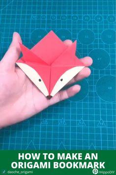 How to make a fox origami bookmark Creative Bookmarks, Diy Bookmarks, Corner Bookmarks, How To Make Bookmarks, Crochet Bookmarks, Origami Bookmark Corner, Bookmark Craft, Oragami Bookmark, Bookmark Making