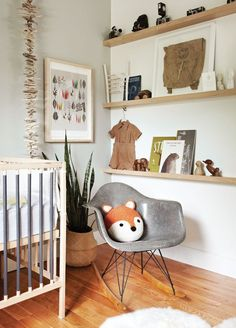 neutral midcentury modern nursery