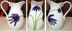 Handprints on a vase... Gift idea for grandma for Mother's Day!