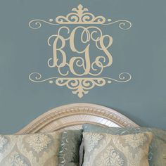 Personalized Three Initial Monogram Vinyl Wall Decal For Master Bedroom Teen Girls Room Or Baby Girl Nursery x (DESK) Bedroom Decor For Teen Girls, Teen Girl Rooms, Bedroom Ideas, Monogram Decal, Monogram Initials, My New Room, My Room, Nursery Wall Art, Girl Nursery
