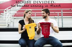 Great baby reveal idea for couples with rival football teams