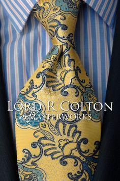 Lord R Colton Masterworks Tie - Cartagena Sun Yellow Silk Necktie - $195 New #LordRColton #NeckTie