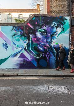 Striking new street art portrait mural from London graffiti artist Mr. Cenz on Fashion Street, London UK. See some of the detail on the blog..