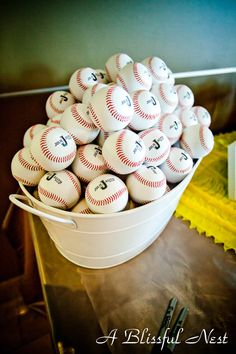 so cool!! customized baseballs for a wedding favor.....would be awesome if the phillies ended up in the playoffs next year!
