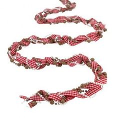 Woven Gingham ribbon with beads.#poundlandchristmas