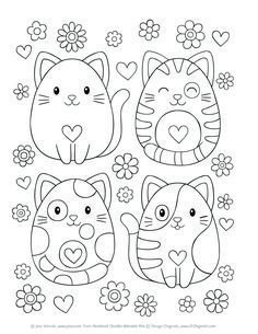 Notebook Doodles Adorable Pets: Coloring & Activity Book (Design Originals) 32 Dazzling Designs from Dogs & Cats to Hedgehogs & Hermit Crabs; Art Activities for Tweens with Color Palettes & Examples Easy Coloring Pages, Cat Coloring Page, Coloring Pages For Kids, Coloring Sheets, Coloring Books, Animal Coloring Pages, Notebook Doodles, Color Activities, Digi Stamps