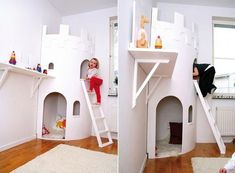 15 Awesome Indoor Playhouses For Kids Outside Playhouse, Indoor Playhouse, Build A Playhouse, Wooden Playhouse, Kids Castle, Kids Play Area, Play Areas, Outdoor Sheds, Outdoor Play