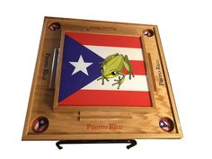 Domino Table, Flag Photo, Wooden Leg, Drink Holder, Epoxy, Puerto Rico, Cape Clothing, Plywood, Wooden Tables