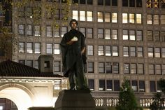Krzysztof Wodiczko's Abraham Lincoln: War Veteran Projection (2012), a projection of the testimony of war veterans onto the Abraham Lincoln memorial in Union Square. Image courtesy More Art.