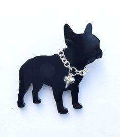 French Bulldog Brooch, Gift for her, Gift for Mum, Bulldog Jewellery, Black Dog Brooch, Dog Lovers Brooch. Perspex Jewellery, Novelty Brooch