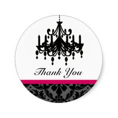 Chandelier Wedding Thank You Stickers