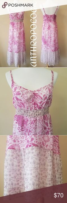 Anthropologie Pink/White Maxi Dress Absolutely beautiful, lightweight Pink & White Maxi Dress from Anthropologie. Size 6, with adjustable straps! Anthropologie Dresses Maxi