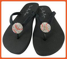 3f3d75edfc2071 Baseball Flip Flops with Rhinestone Bling Sandals 7 M US - Sandals for women  (