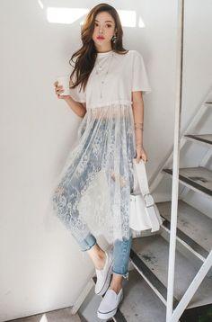 Long Mesh Floral Lace Insert Cropped T-Shirt white sheer lace crop top - Women's Fashion Look Fashion, Diy Fashion, Ideias Fashion, Fashion Dresses, Womens Fashion, Korean Fashion, White Fashion, Spring Fashion, Fashion Shirts
