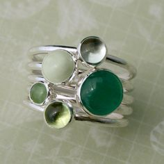 Stacking Rings Sterling Silver, Green Aventurine Chrysoprase Jade Amethyst Peridot, Stack of 5 Stackable Rings
