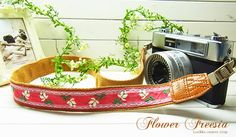 pink pure flower camera strap