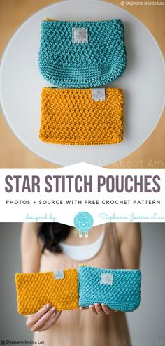 Crochet bags purses 374150681542844242 - Star Stitch Pouches Free Crochet Pattern Source by Loupikart Crochet Simple, Crochet Diy, Crochet Gifts, Star Stich Crochet, Crochet Poncho, Chrochet, Crochet Ideas, Purse Patterns Free, Crochet Purse Patterns