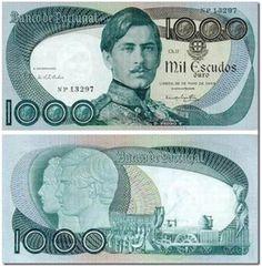 Notas de Portugal e Estrangeiro World Paper Money and Banknotes: Portugal Old Coins, Rare Coins, Note Image, Nostalgia, Money Notes, Coin Collecting, Portuguese, Childhood Memories, Graffiti