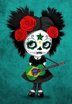 Sugar Skull Girl Playing Brazilian Flag Guitar   Jeff Bartels