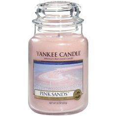 Yankee Candle Large Jar ($16) ❤ liked on Polyvore featuring home, home decor, floral home decor, yankee candle and pink home decor
