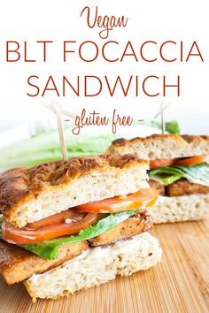 Vegan BLT Focaccia Sandwich (gluten free) - This vegan sandwich is made with tofu bacon, roasted garlic focaccia, and roasted garlic mayo. It's a hearty sandwich that travels well. #veganblt #vegansandwich #focacciasandwich Family Vegetarian Meals, Vegetarian Lunch, Vegan Meal Prep, Vegetarian Recipes Easy, Vegan Dinner Recipes, Delicious Vegan Recipes, Vegan Dinners, Picnic Recipes, Healthy Recipes