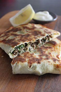 Lamb, Spinach and Feta Gozleme (Turkish Flatbread) (http://www.foodonpaper.com/2014/11/lamb-spinach-and-feta-gozleme.html)