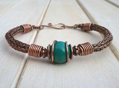 Turquoise Bracelet  - Viking Knit Bracelet - Copper Torque Bangle - Wire Wrapped Jewellery Handmade