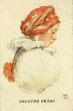 Marie Kvěchová-Fischerová Woman Drawing, Folk Costume, Beautiful Patterns, Vintage Postcards, Nativity, Disney Characters, Fictional Characters, Czech Republic, Drawings